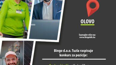 Photo of Kompanija Bingo doo Tuzla raspisuje konkurs za prijem radnika u poslovnici Olovo